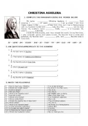 English Worksheet: Christina Aguilera