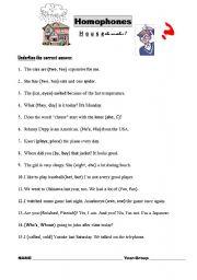 English Worksheet: Homophones Quiz