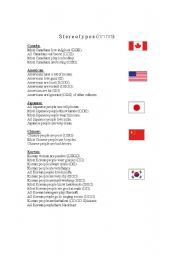English Worksheet: Busting Stereotypes