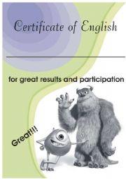 English Worksheet: Certificate of English