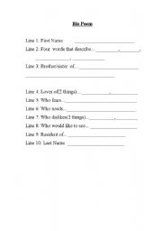 English Worksheets: How to write a Bio Poem