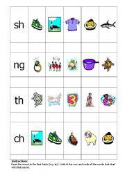 English Worksheets: Initial sh, th, ch and final ng