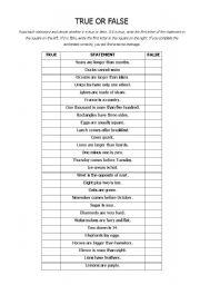 English Worksheets: True or False