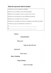 English Worksheets: Expressions and greetings