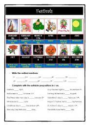 English Worksheet: Festivals