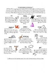 image about Chinese Zodiac Printable named Chinese Zodiac - ESL worksheet through Jessica87
