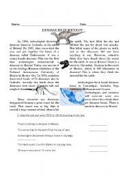 English Worksheet: Dinosaurs in Mexico