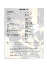 English Worksheets:  One U2