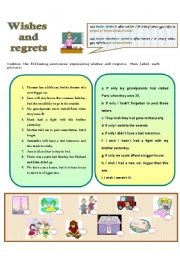 English Worksheets: wishes - regrets