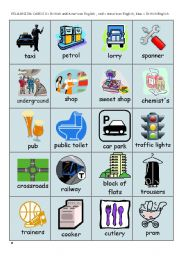 English Worksheet: British and American English - pelmanism cards - part 1