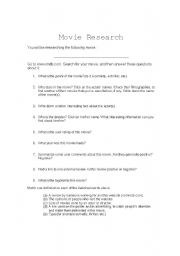 English Worksheets: Movie Research