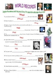 English Worksheet: The superlative: world records!