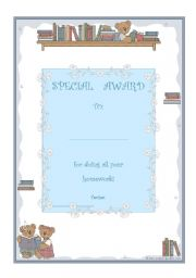 English Worksheets: special award for doing all your homework