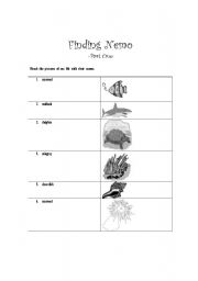English Worksheet: Finding Nemo Part A