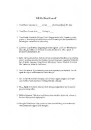 English worksheets: Self Introduction in an Interview