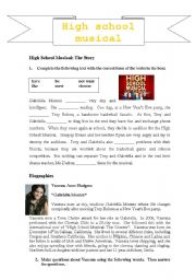 English Worksheets: High School Musical 1