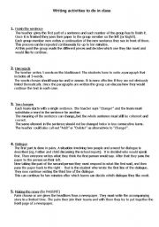 English Worksheets: Writing activities to do in class