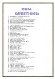 English Worksheets: ORAL QUESTIONS