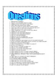 English Worksheets: 35  Questions