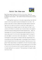English Worksheets: Catch the Run-ons