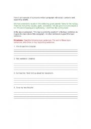 English Worksheets: Topic Sentences