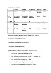 Worksheet Reading A Schedule Worksheet english teaching worksheets my timetable school reading task