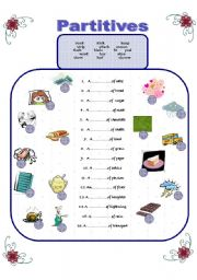 English Worksheet: Partitives