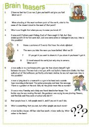 Printables Brain Teasers Worksheet english teaching worksheets brain teasers teasers