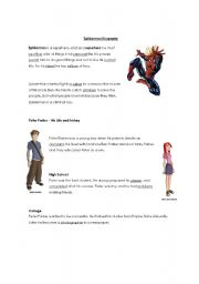 English Worksheet: Spiderman Biography