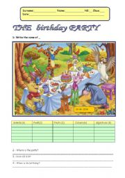 English Worksheet: The birthday party