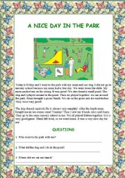 English Worksheet: A nice day in the park