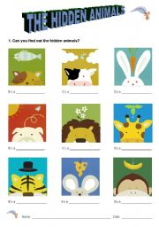 English Worksheets: The hidden animals