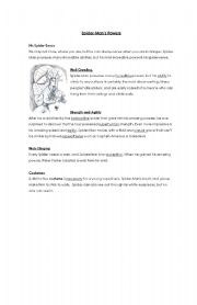 English Worksheet: Spiderman�s powers