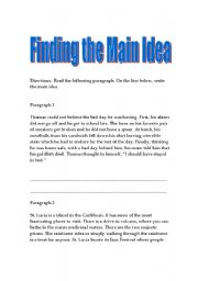 English Worksheet: Finding The Main Idea