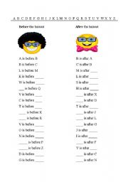 English Worksheet: Alphabet - Before and after
