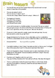 math worksheet : worksheet brain teasers part 2 : Middle School Brain Teasers