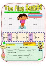 English Worksheet: Using The Five Senses - Dora and Friends (Part A)