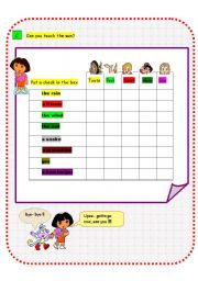English Worksheet: Using The Five Senses - Dora and Friends (Part C)