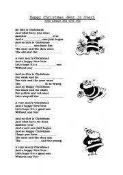 Happy Christmas By John Lennon Yoko Ono Esl Worksheet By Skatehalle