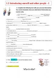 English Worksheet: Introducing oneself and other people 1