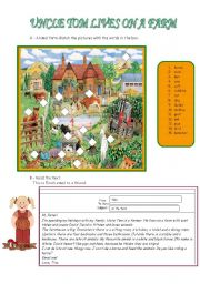 English Worksheet: Test - Uncle Tom lives on a farm- 5th form