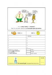 English Worksheet: Healthy Food vs. Junk Food (3rd Part )