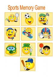 English Worksheet: SPORTS MEMORY GAME PART 1 OF 2