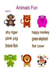 English Worksheets: Animals Fun