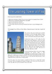 English Worksheets: The Leaning Tower of Pisa