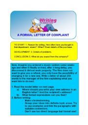 WRITING A FORMAL LETTER OF COMPLAINT