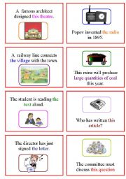English Worksheet: Passive Voice Cards