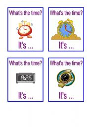 English Worksheet: Telling Time Cards - Part II