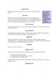 English Worksheets: Laws to know