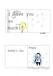 English Worksheets: daddy�s day card